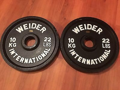 Two (2) Weider International 22 LB Weight Plates (10 KG) - Free Shipping