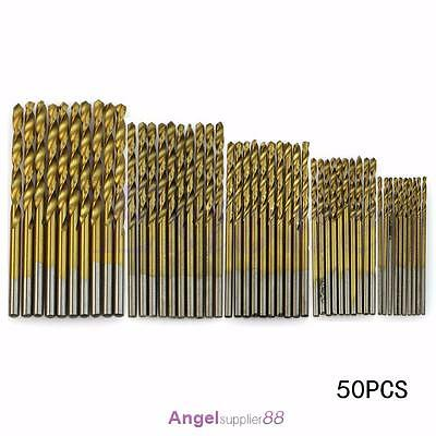 1mm-3mm 50Pcs Titanium Coated HSS High Speed Steel Drill Bit Set Tool Kit