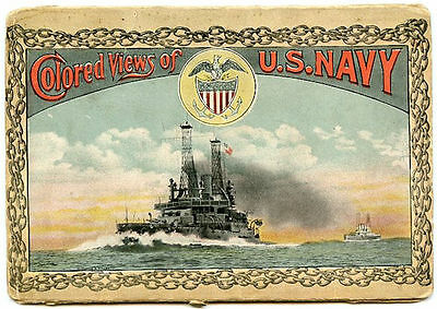 1915 Colored Views of U.S. Navy Postcards - Dreadnoughts Submarine and Gun Crews