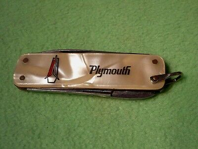 Vintage Auto Advertising PLYMOUTH pocket knife w/ MOTHER of PEARL case. 3 funct