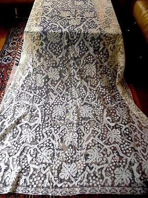 Antique Italian Hand Knotted Net Darned Filet Lace 66x100 Banquet Tablecloth