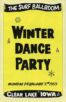 1980's Buddy Holly Winter Dance Party Reproduction Flyer Richie Valens Dion