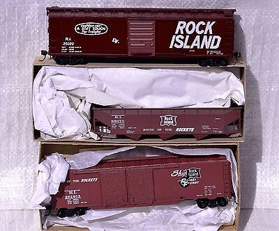 HO Lot of 3 Rock Island Freight Cars: 50' boxcar, Accurail 3bay Hopper, 50' Auto