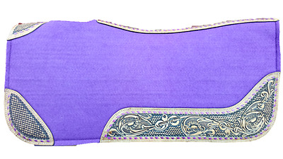 Felt Saddle Pad Purple with Leather and Ribbon inserts