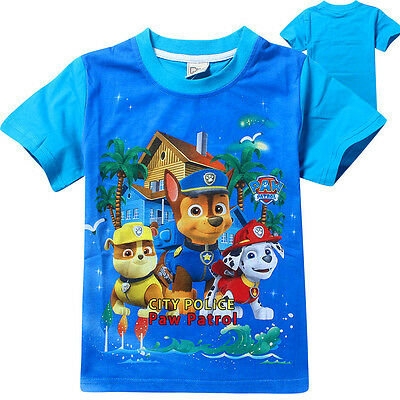 New Boys PAW PATROL T Shirt Kids Children Casual Cute Cartoon Tops 3-7 Y