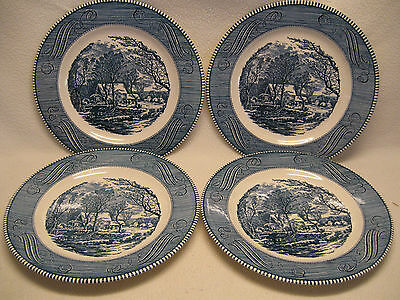 "Royal China USA Currier & Ives (4) 10"" Dinner Plates VGC ""The Old Grist Mill"""