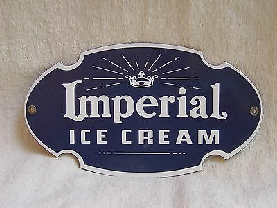 "8"" Long Die-Cut Porcelain IMPERIAL ICE CREAM Store Advertising Dairy Sign"