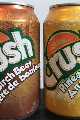 Unopened Full Crush Cans Pineapple & Birch Beer Soft Drink ** Rare Flavour Lot