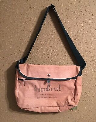 Vintage Arcticreel Canvas Fishing Creel Carry Bag Rubber Lined Shoulder Strap