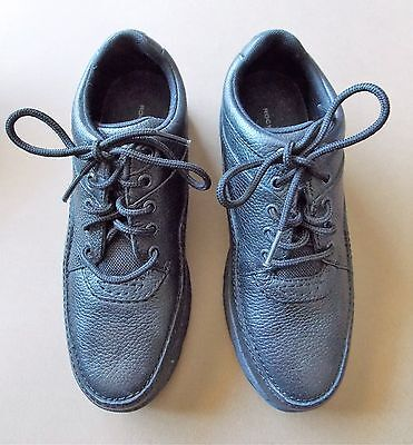 AS NEW Size 37 Rockport Black Leather Women's Lace Up Walking Shoes