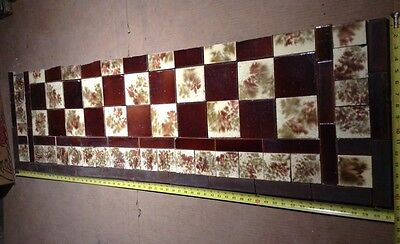 Set Of Vintage Victorian ANTIQUE FIREPLACE Hearth Tile Tiles Brown Cranberry
