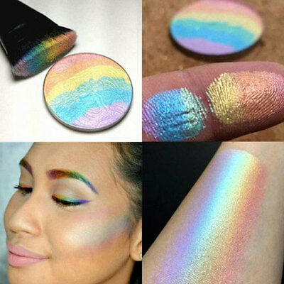 Fashion Bronzer Rainbow Highlighter Shimmer Face Makeup Blusher Powder