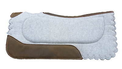 Grey Felt Saddle Pad with Scalloped edge and Suede inserts