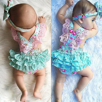 Newborn Infant Kids Baby Girl Floral Clothes Jumpsuit Romper Sunsuit Outfits Set