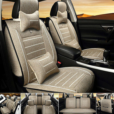 Beige L Size Car 5-Seat Linen Cushion Seat Covers Front+Rear+Neck Lumbar Pillows