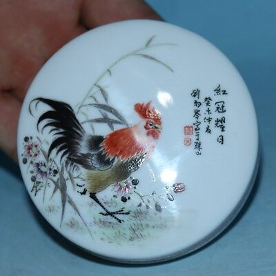 Chinese Exquisite Hand-painted Flower & Grass & Cock pattern Porcelain Box