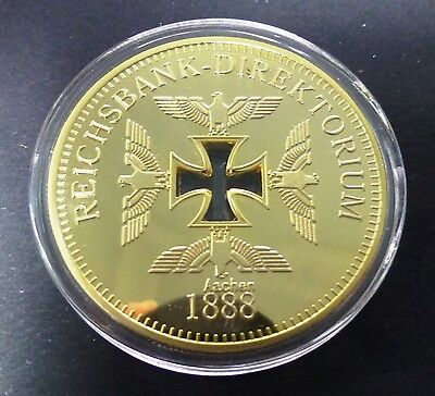 Reichsbank - Aachen 1888 Finished With 24K Gold Coin