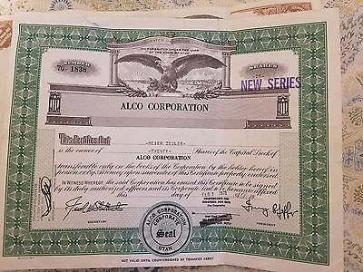 stock certificate Alco corp 2 certs new series issued 1971