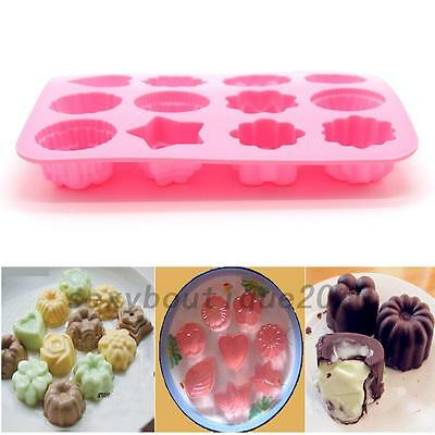 DIY 12 Cavity Flower Silicone Non Stick Cake Mold Chocolate Baking Mould New