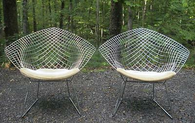 Vintage Pair of HARRY BERTOIA For KNOLL Mid Century Modern Chrome DIAMOND Chairs