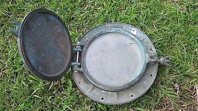 Vintage Large Brass Porthole With Dead Light Stamped Harold Brisbane No 8