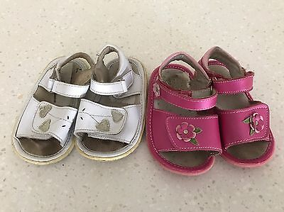 Girls Pink And White Sandals Size 6