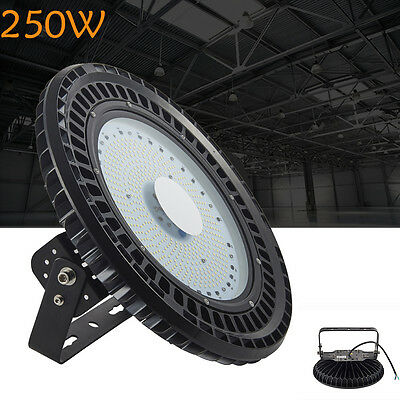 110V 250W LED High Bay Light Warehouse Factory UFO Lamp Shed Roof Barn Gym Light
