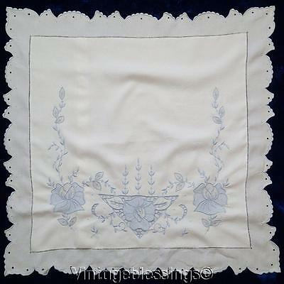 "Beautiful Hand Embroidered MADEIRA Vintage Pillow Sham 27 1/2"" x 28"""