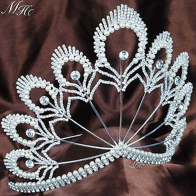 "Floral Wedding Bridal Tiara Simulated Pearl Crown 5.5"" Pageant Hair Accessories"