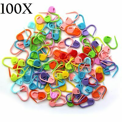 100X Plastic Knitting Crochet Hooks Locking Stitch Markers  Needle Clips Holder