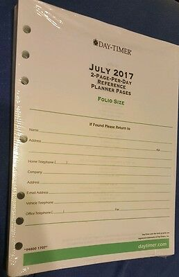 Day Timer July - Dec 2017. Planner Pages