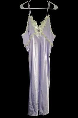 Private Luxuries Bridal Purple Wet Look Polyester Satin Long Nightgown Size XXL