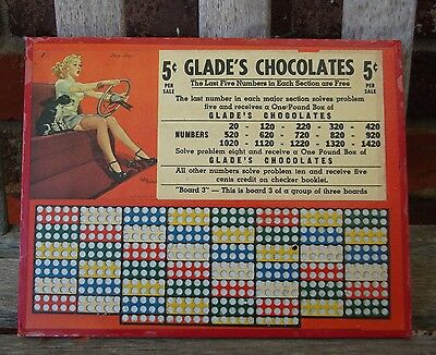 Glade's Chocolates Vintage Punch Board Gambling