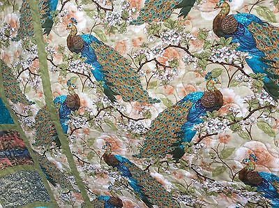 Peacocks patchwork quilt. Handmade. New. Lap/bed quilt. Oriental fabrics