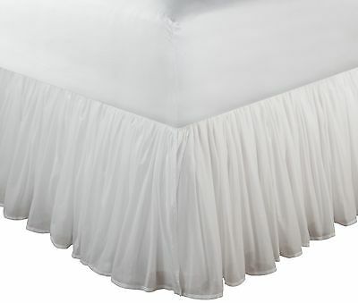 18 Inch Drop Bedskirt White Queen Bed Long Cotton Dust Ruffle Bedding Tailored