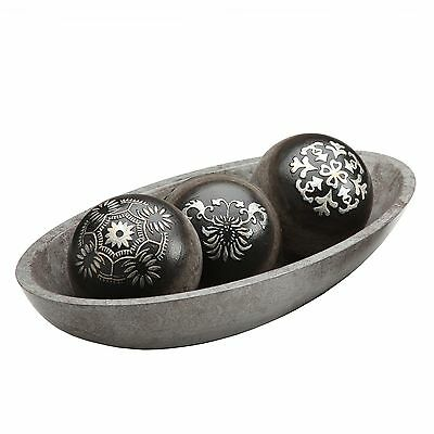 Elegant Expressions Black and Silver Decorative Orb Set w/Bowl in Gift Box