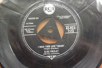 ELVIS PRESLEY1959<I NEED YOUR LOVE TONIGHT>45rpm vinyl 7ins RECORD JUKEBOX