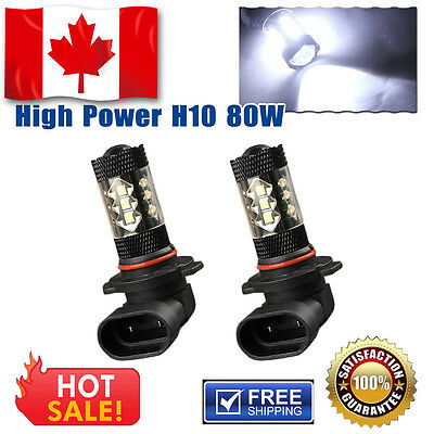 2 X 80W High Power H10 Led Fog Light Driving Bulbs 7000K Cool White 9145 LED