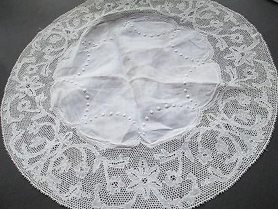 Antique  hand embroided doillie with Flanders lace on linen-Belguim