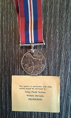 WW2 military war medal 1939 & 1945 named