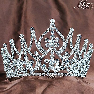 Flower Pageant Tiara Diadem Clear Crystal Crown Hair jewelry Wedding Prom Party