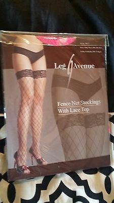 pink stay up lycra industrial fishnet LEG AVENUE thigh high stockings one size