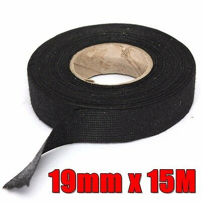 19mm x 15m Black Wiring Loom Adhesive Cloth Fabric Tape Cable Loom Harness