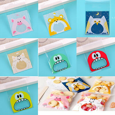 100x Cute Multicolor Monster Self Adhesive Bags  For Candy Yeast Biscuit Package