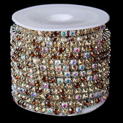 Coffee Mixed Crystal Rhinestone Cup Chain Trimming 3mm per mtr