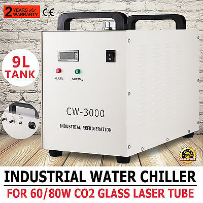 Cw-3000 Industrial Water Chiller 9L Tank Co2 Glass Laser Dissipate Heat Great