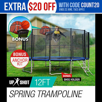 NEW 12ft Round Trampoline FREE Basketball Set Safety Net Spring Pad Cover Ladder
