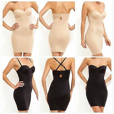Nancy Ganz Shapewear - Sleek Slip Dress Black/Warm Taupe (rrp $149.95) **NEW