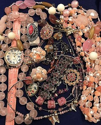 Estate Vintage & New Costume Jewelry Lot All Pink Rhinestones Earrings Brooches