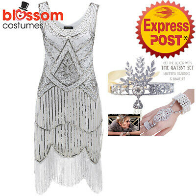 K298 White Ladies 1920s Roaring 20s Flapper Costume Sequin Gatsby Outfit Dress